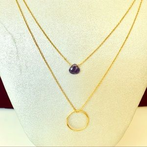 Gold double strand necklace amethyst necklace